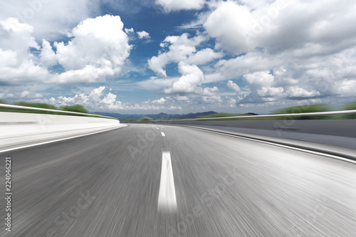 Foto op Aluminium Luchthaven blurred motion highway through country side