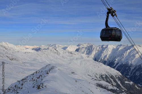 Austria: Winter sport in Sölden snow mountains at Rotkogljoch in the tyrolean alps