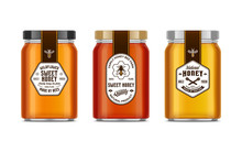 Honey Glass Jar Mockups With Labels And Bees