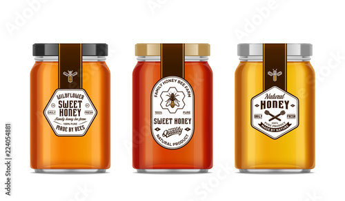 Honey glass jar mockups with labels and bees Canvas-taulu