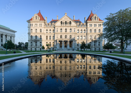 New York State Capitol and reflection from West Capitol Park in Albany, New York Wallpaper Mural