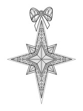 Monochrome Ornate Christmas Star With Bow, Happy New Year