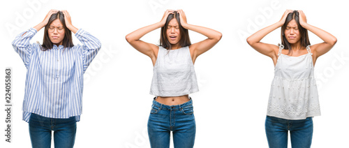 36e3b1b18bf Collage of asian young woman standing wearing glasses over white isolated  background suffering from headache desperate