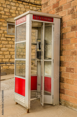 Fotografie, Obraz  Red and White Phone Booth