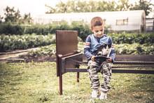 Lonely Child Kid Boy Playing K...