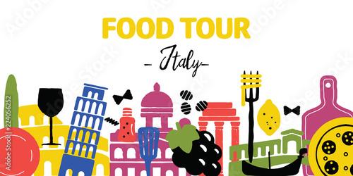 Valokuvatapetti Food tour. Italy. Travel agency banner. Vector illustration.