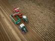canvas print picture - Kartoffelernte im Herbst  - Luftaufnahme