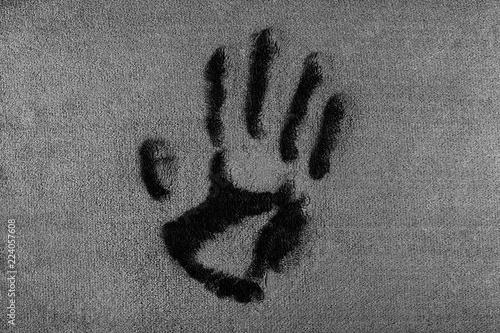 Fotografie, Obraz  an imprint of an ancient person, a handprint,.5000 BC, not real