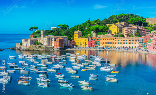 View of the Bay of Silence in Sestri Levante, Italy