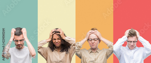 Cuadros en Lienzo Collage of a group of people isolated over colorful background suffering from headache desperate and stressed because pain and migraine