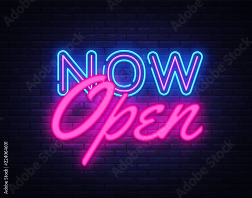 Now Open neon text vector design template. Now Open neon logo, light banner design element colorful modern design trend, night bright advertising, bright sign. Vector illustration Wall mural