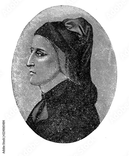 Antique portrait of Dante Alighieri (1265-1321), major Italian poet of late midd Wallpaper Mural