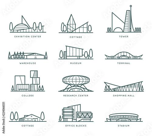 Obraz na plátně Contour stylized modern flat draft city buildings set
