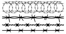 Barbwire Set Isolated Silhouette, Vector Background. Barbed Wire, Seamless