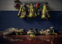 Firefighter Bunker Suit In The Fire Station