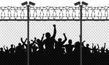 Enraged Crowd Of People Are Behind Bars. Fence Wire Mesh Barbed Wire, Vector Silhouette. Street Camera On The Pillar
