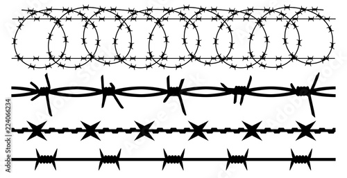 Valokuva  Barbwire set isolated silhouette, vector background
