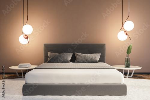 Photo  Beige minimalistic bedroom interior master bed