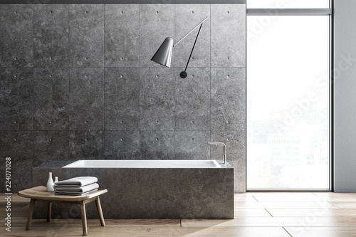 Industrial style bathoom interior, angular tub