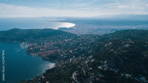 Nice France coast drone view of houses and city from the air
