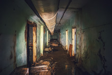 Dark Flooded Corridor Or Tunnel In Old Underground Haunted And Abandoned Soviet Military Bunker