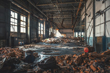Abandoned, Haunted And Ruined Industrial Warehouse Or Factory Building Inside, Large Hall With Perspective, Ruins And Demolition Concept