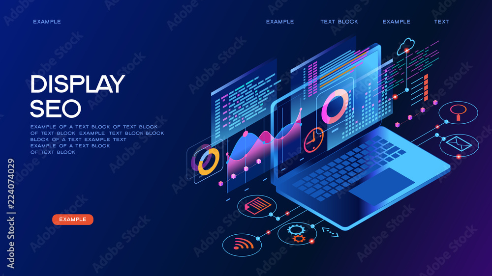 Fototapety, obrazy: Business technology management isometric concept banner