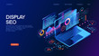 Business technology management isometric concept banner