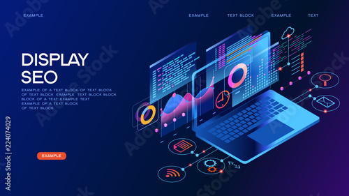 Business technology management isometric concept banner Canvas