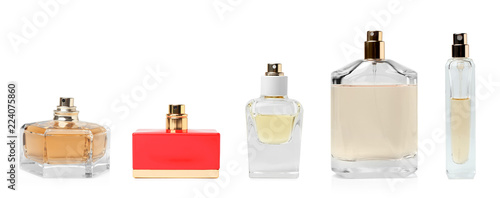 Set with different blank perfume bottles on white background Wallpaper Mural
