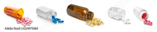 Fotografia Set with different pills on white background