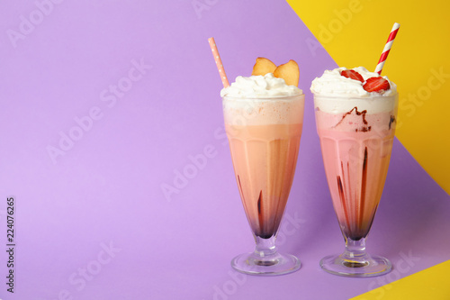 Garden Poster Milkshake Glasses of tasty milk shakes and space for text on color background