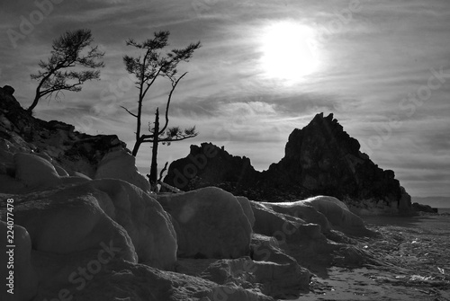Spoed Foto op Canvas Grijze traf. Black and white landscape. The shore of the lake with a rock and trees. Winter landscape