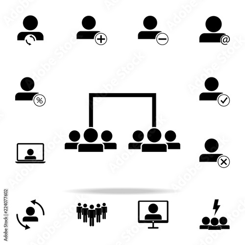 Photo  division of employees into teams icon
