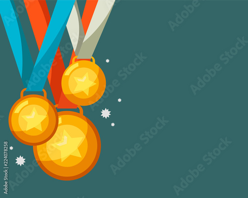 Fototapeta Gold medal with copy space background vector illustration