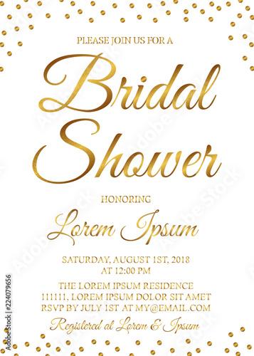 Cuadros en Lienzo Gold confetti bridal shower invitation card