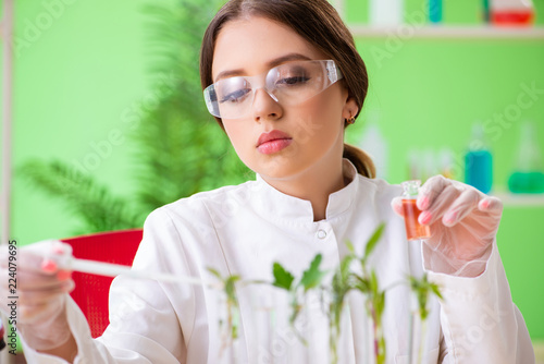 Beautiful female biotechnology scientist chemist working in lab