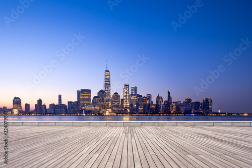 Photo sur Toile New York empty floor with modern cityscape in new york