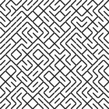 Seamless Fractal Line Maze Pattern. Truchet Tiled Labyrinth Background. Geometric Irregular Backdrop