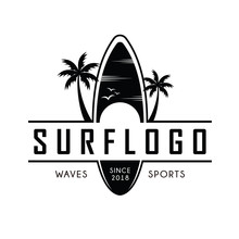 Surfing Logo And Emblems For Surf Club Or Shop Logo Design Inspiration Vector