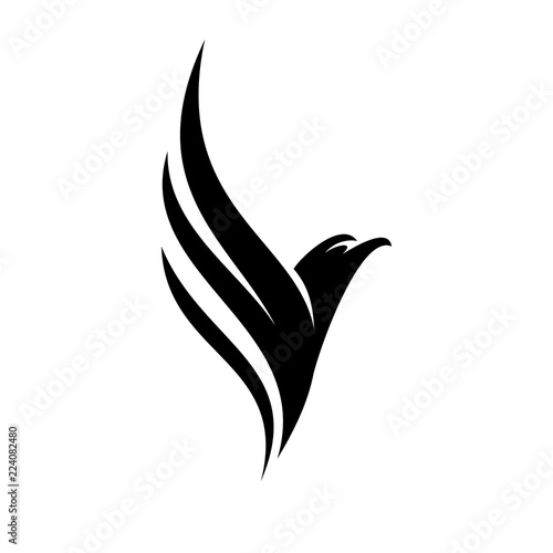 Naklejka premium Czarny Eagle Fly Logo Design Inspiration Vector