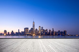 Fototapeta Nowy Jork - empty floor with modern cityscape in new york