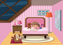 A Girl Reading Book On The Bed