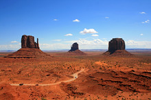 Three Monuments In Monument Valley, Arizona