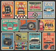 Car Service And Auto Repair Garage Retro Cards