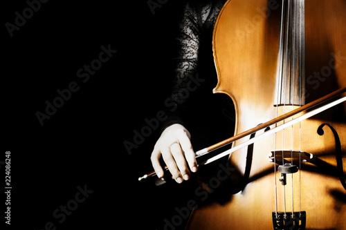 Papiers peints Musique Cello closeup isolated on black