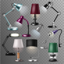 Table Lamp Vector Desklamp And Realistic Reading-lamp For Electric Lighting Decoration In Office Or Hotel Illustration Set Of Relectricity Equipment With Lightbulb Isolated On Transparent Background