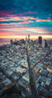 canvas print picture - Aerial View of San Francisco Skyline at Sunrise