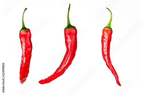 three pieces of chili peppers