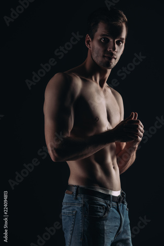 Deurstickers Akt silhouette of a man